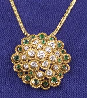 14kt Gold Emerald and Diamond Pendant Necklace