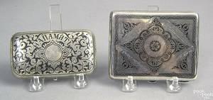 Russian silver and niello decorated cigarette case early 19th c