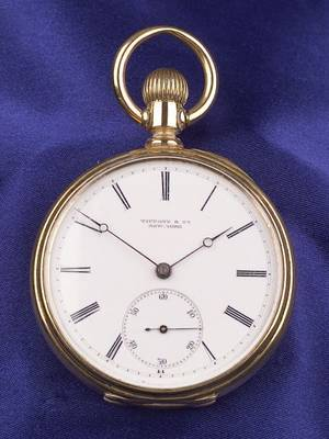 Gentlemans 18kt Gold Open Face Pocket Watch Tiffany  Co