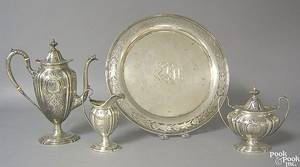 Three piece sterling silver tea service retailed by Bailey Banks  Biddle