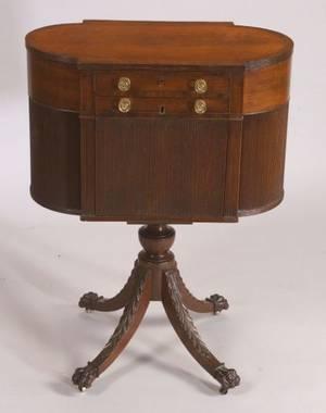 Federal Carved Mahogany and Mahogany Veneer Astragalend Work Table