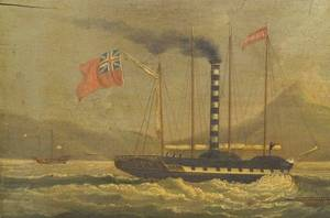 Sunqua Chinese ac 18301870 Historically Important Depiction of the Paddle Steamer Forbes