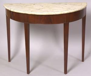 Federal Mahogany and Mahogany Veneer Console Table with Marble Top