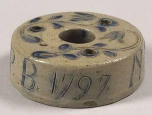 Cobalt Decorated SaltGlazed Stoneware Inkwell