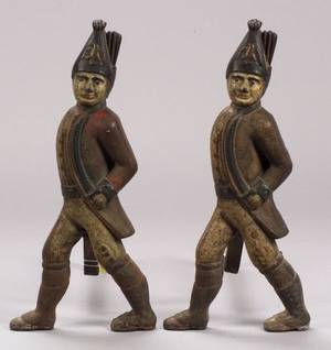 Pair of Polychrome Painted Cast Iron Hessian Soldier Andirons