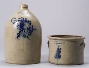 Cobalt Decorated SaltGlazed Stoneware Crock and Jug