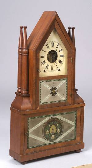 Gothic Mahogany Candlestick Double Steeple Wagon Spring Shelf Clock