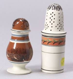 Two Mochaware Pepper Pots
