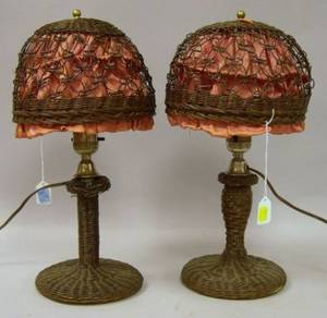 Pair of Woven Wicker Boudoir Table Lamps