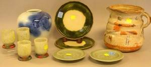 Six Asian Ceramic Items and a Set of Ten Soapstone Cups