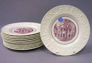 Set of Twelve Wedgwood University of Virginia Transfer Decorated Dinner Plates