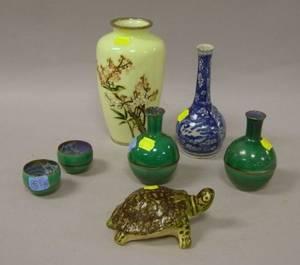 Six Asian Porcelain Articles and a Cloisonne Vase