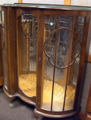English Mid20th Century Mahogany Dshaped Mirrored Display Cabinet