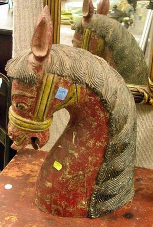 Decorative Carved and Painted Wood Horse Head