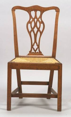 Country Chippendale Birch Side Chair