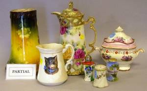 Group of Assorted Decorated Porcelain and Ceramic Tableware Silver Plated Table Items and Carved Wood Decorations