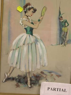 Lot of Two Framed Mixed Media Works on Paper of Dancers