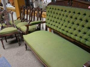 SixPiece Renaissance Revival Upholstered Walnut Parlor Set