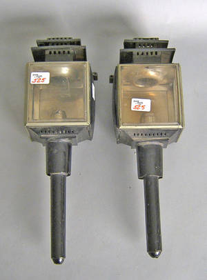 Pair of sheet iron and beveled glass carriage lamps