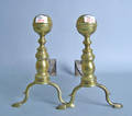 Pair of New England Federal brass andirons