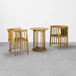 Josef Hoffmann   pair of chairs and occasional table