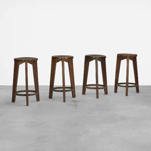 Pierre Jeanneret   set of four stools from Punjab University Chandigarh