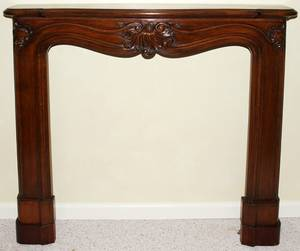 021082 FRENCH LOUIS XV STYLE WALNUT FIREPLACE SURROUND