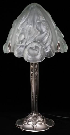 FRENCH ART DECO STYLE FROSTED GLASS  METAL LAMP
