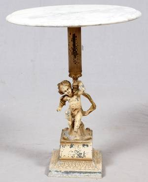 MARBLE TOP  FIGURAL PEDESTAL TABLE