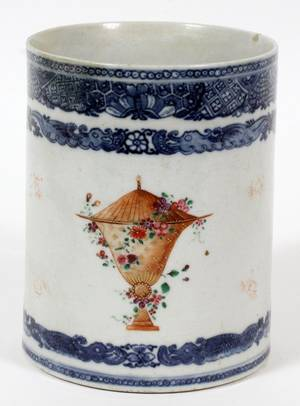CHINESE EXPORT PORCELAIN TANKARD LATE 18TH C