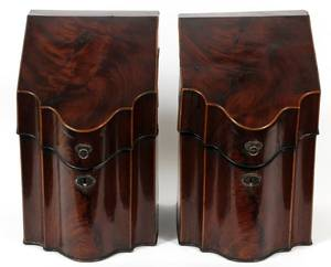 GEORGIAN MAHOGANY KNIFE URNS C 1800 PAIR