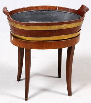 MAHOGANY WINE COOLER W BRASS BANDING EARLY 19TH C