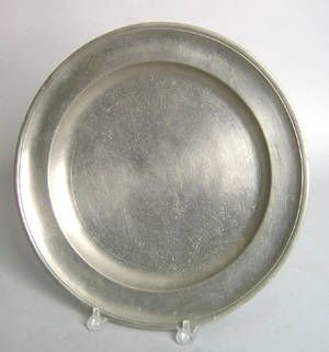 Connecticut or Rhode Island pewter charger earlymid 19th c