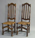 Two cedar bannisterback side chairs ca 1740