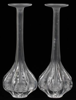 LALIQUE CLAUDE FROSTED GLASS VASES PAIR