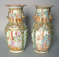 Pair of Chinese export famille rose urns 19th c