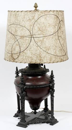BRADLEY  HUBBARD METAL OIL LAMP ELECTRIFIED