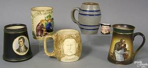 Six mugs to include stoneware