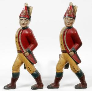 PAINTED CAST IRON HESSIAN SOLDIER ANDIRONS PAIR