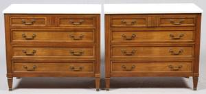 MARBLETOP WALNUT CHESTS OF DRAWERS PAIR