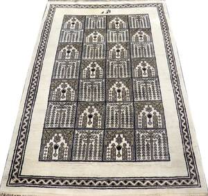 INDIAN HAND KNOTTED WOOL RUG 9 0 X 6 7