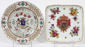 MEISSEN PORCELAIN SQUARE PLATE LATE 19TH C