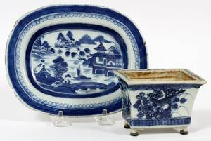 CHINESE BLUE  WHITE PORCELAIN PLANTER WPLATE
