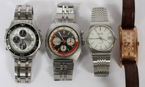 SEIKO LONGINES GRUEN AND BULOVA WRISTWATCHES 4 PCS
