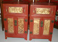 3071 CHINESE RED LACQUERED  GILDED CABINETS 19TH CEN