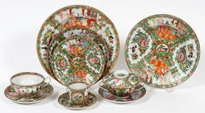 CHINESE ROSE MEDALLION PORCELAIN LUNCHEON WARE