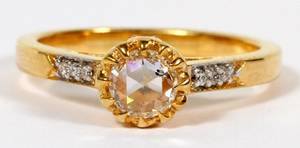 EDWARDIAN STYLE DIAMOND  18KT YELLOW GOLD RING