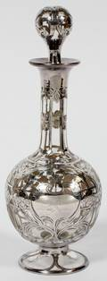 STERLING OVERLAY CRYSTAL DECANTER EARLY 20TH C
