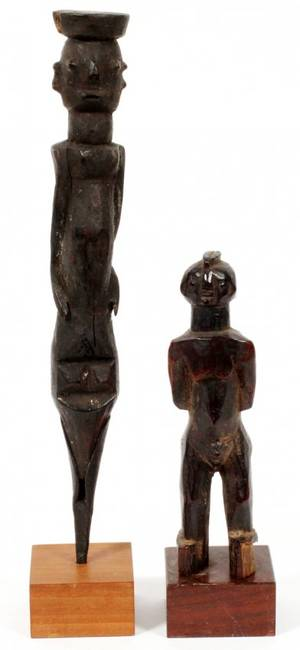 CHAMBA AFRICAN CARVED WOOD FIGURES TWO