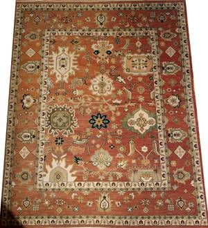 TURKISH OUSHAK DESIGN HAND WOVEN WOOL RUG C1930